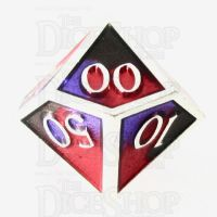 TDSO Metal Fire Forged Multi Colour Silver Black Purple & Red Percentile Dice