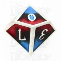 TDSO Metal Fire Forged Multi Colour Silver Black Blue & Red D10 Dice