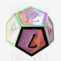 TDSO Metal Fire Forged Multi Iridescent Orange Violet & White D12 Dice
