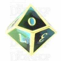 TDSO Metal Fire Forged Multi Gold Black Green & Turquoise D10 Dice
