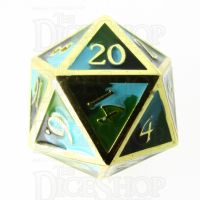 TDSO Metal Fire Forged Multi Gold Black Green & Turquoise D20 Dice