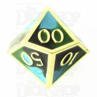 TDSO Metal Fire Forged Multi Gold Black Green & Turquoise Percentile Dice