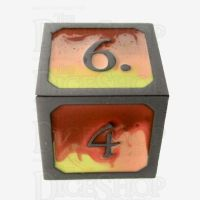 TDSO Metal Fire Forged Multi Black Nickel Orange Red & Yellow D6 Dice