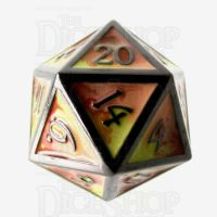 TDSO Metal Fire Forged Multi Black Nickel Orange Red & Yellow D20 Dice