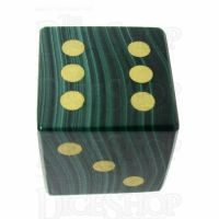 TDSO Malachite with Engraved Spots 16mm Precious Gem D6 Dice