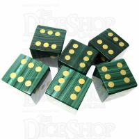 TDSO Malachite with Engraved Spots 16mm Precious Gem 6 x D6 Dice Set