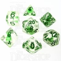 TDSO Encapsulated Flower Green 7 Dice Polyset