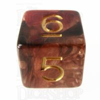 TDSO Pearl Swirl Black & Red with Gold D6 Dice