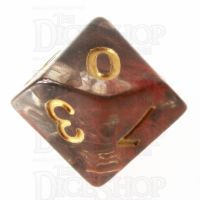 TDSO Pearl Swirl Black & Red with Gold D10 Dice