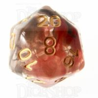 TDSO Pearl Swirl Black & Red with Gold D20 Dice