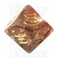 TDSO Pearl Swirl Black & Red with Gold Percentile Dice
