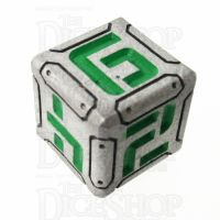 Metal Armour Plate Silver & Green D6 Dice