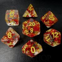 TDSO Confetti Butterfly Red & Yellow 7 Dice Polyset
