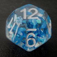 TDSO Confetti Butterfly Blue & White D12 Dice