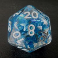 TDSO Confetti Butterfly Blue & White D20 Dice
