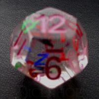TDSO Confetti Alphabet Clear & Pink D12 Dice
