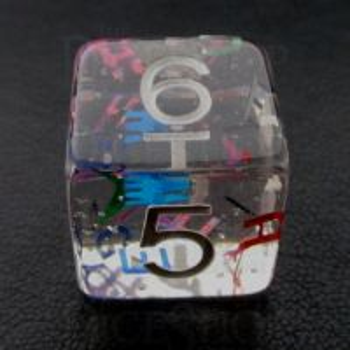 TDSO Confetti Alphabet Clear & White D6 Dice