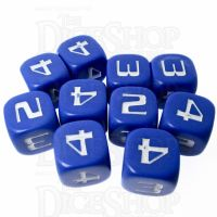 CLEARANCE D&G Opaque Blue Numbered 2, 3, 4 Twice D6 Dice Set x 10