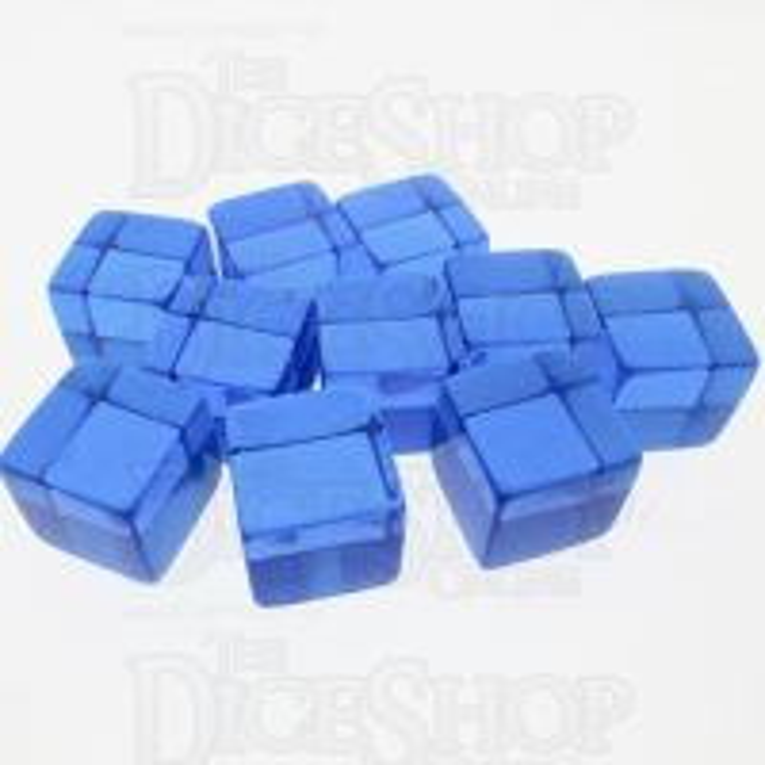 Koplow Translucent Blank  Blue 16mm D6 Dice x10