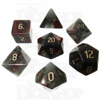 TDSO Bloodstone with Engraved Numbers 16mm Precious Gem 7 Dice Polyset