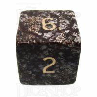 TDSO Obsidian Snow with Engraved Numbers 16mm Precious Gem D6 Dice