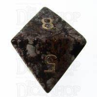 TDSO Obsidian Snow with Engraved Numbers 16mm Precious Gem D8 Dice
