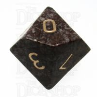 TDSO Obsidian Snow with Engraved Numbers 16mm Precious Gem D10 Dice