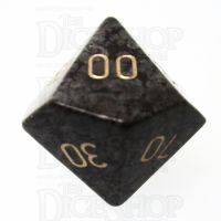 TDSO Obsidian Snow with Engraved Numbers 16mm Precious Gem Percentile Dice
