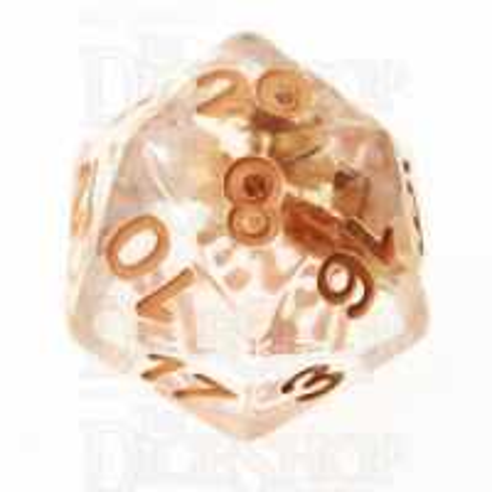 TDSO Encapsulated Flower Orange D20 Dice