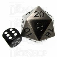 TDSO Metal Antique Silver JUMBO 38mm D20 Dice