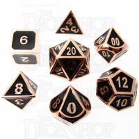 TDSO Metal Fire Forge Copper & Black Enamel 7 Dice Polyset