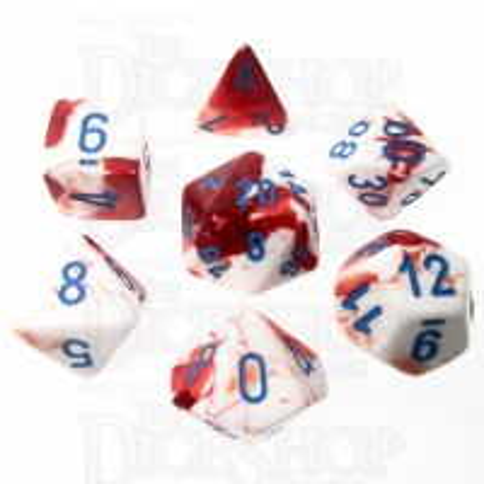 Chessex LAB 3 Gemini Red & White 7 Dice Polyset + Cube