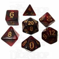 TDSO Duel Glitter Black & Red 7 Dice Polyset LTD EDITION