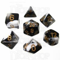 TDSO Marble Black & White 7 Dice Polyset
