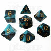 TDSO Marble Teal & Black 7 Dice Polyset