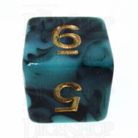 TDSO Marble Teal & Black D6 Dice