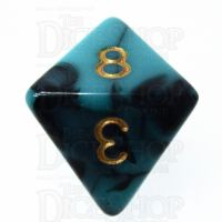 TDSO Marble Teal & Black D8 Dice