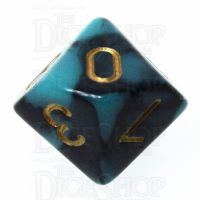 TDSO Marble Teal & Black D10 Dice