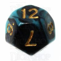 TDSO Marble Teal & Black D12 Dice