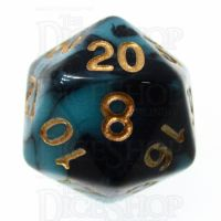 TDSO Marble Teal & Black D20 Dice