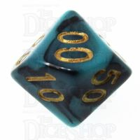 TDSO Marble Teal & Black Percentile Dice