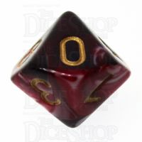 TDSO Marble Red Black & White D10 Dice