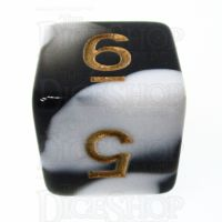 TDSO Marble Black & White D6 Dice