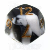 TDSO Marble Black & White D12 Dice