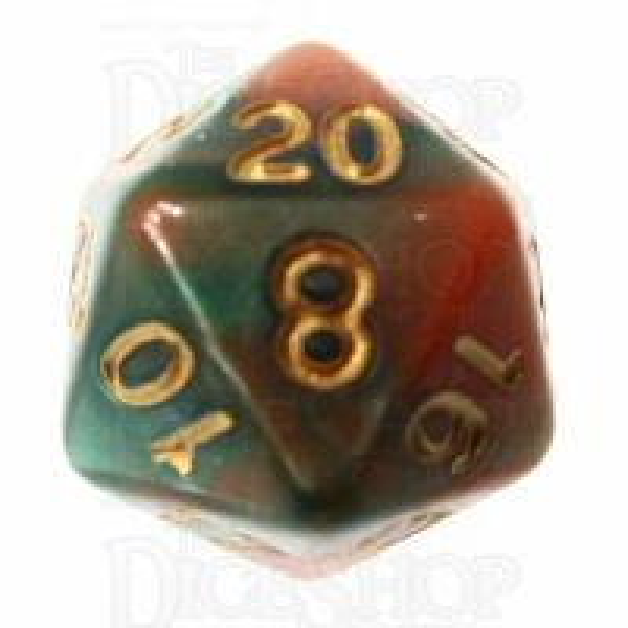 TDSO Marble Green & Orange D20 Dice