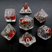 TDSO Encapsulated Flower Lavender & Red 7 Dice Polyset