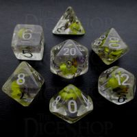 TDSO Encapsulated Flower Lavender & Yellow 7 Dice Polyset