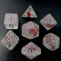 TDSO Encapsulated Glitter Flower Red 7 Dice Polyset
