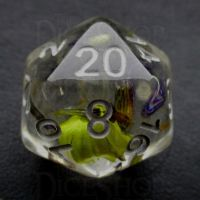 TDSO Encapsulated Flower Lavender & Yellow D20 Dice