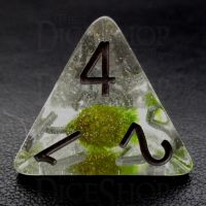 TDSO Encapsulated Glitter Flower Green D4 Dice